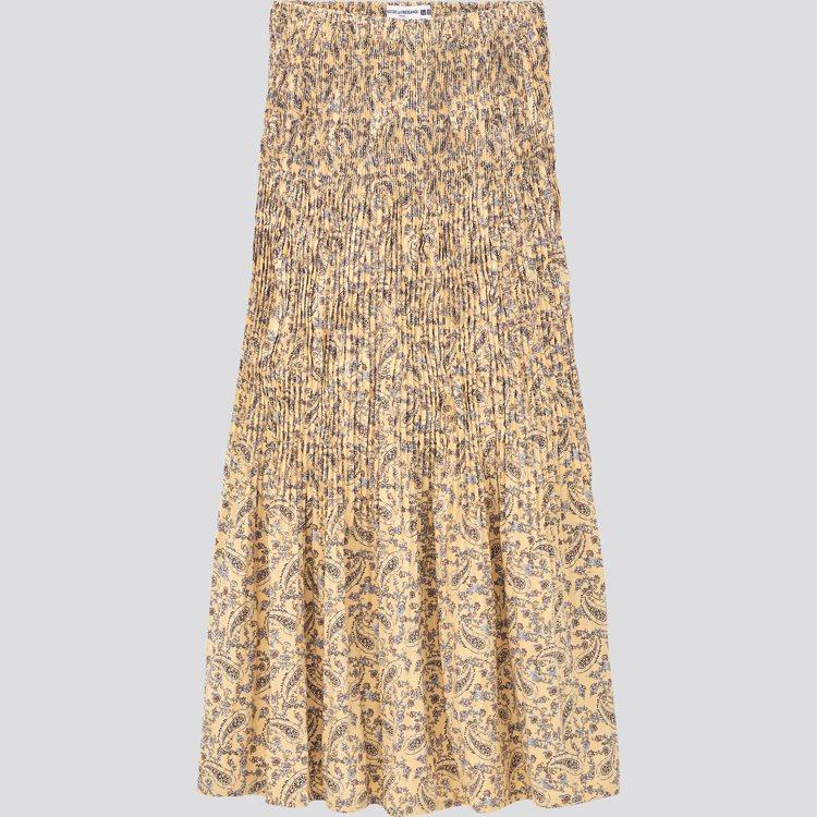 UNIQLO女裝設計細褶裙990元。圖/UNIQLO提供