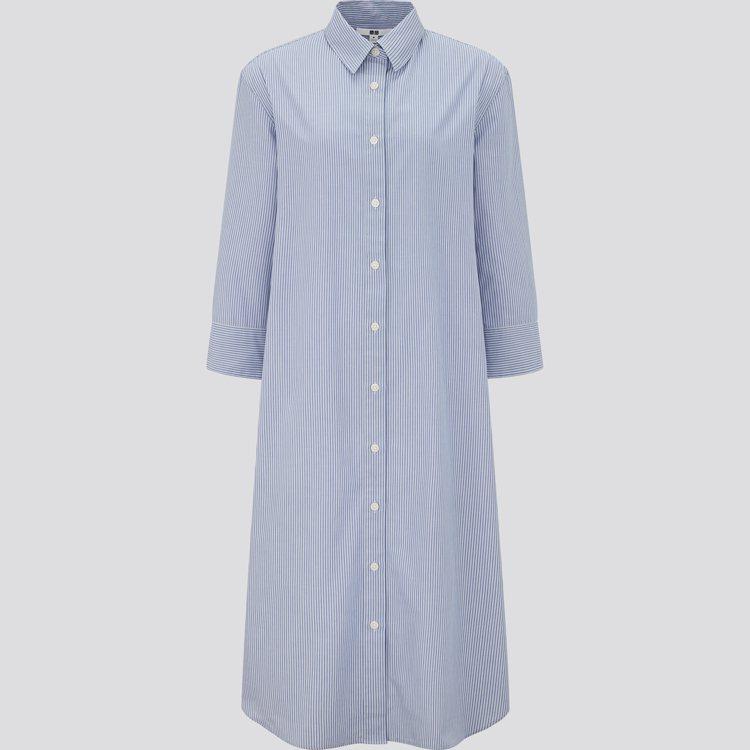 超柔棉條紋襯衫式洋裝 1,290元。圖/UNIQLO提供