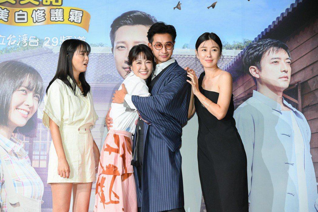 Darren在「羅雀高飛」戲中,李維維(右起)、大元、李若玹都愛他。圖/三立提供