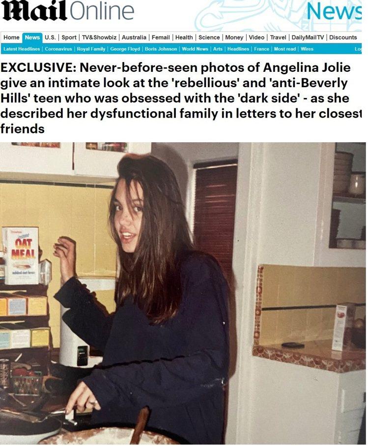 安琪莉娜裘莉少女時代雖叛逆狂野,卻相當大方。圖/摘自Daily Mail