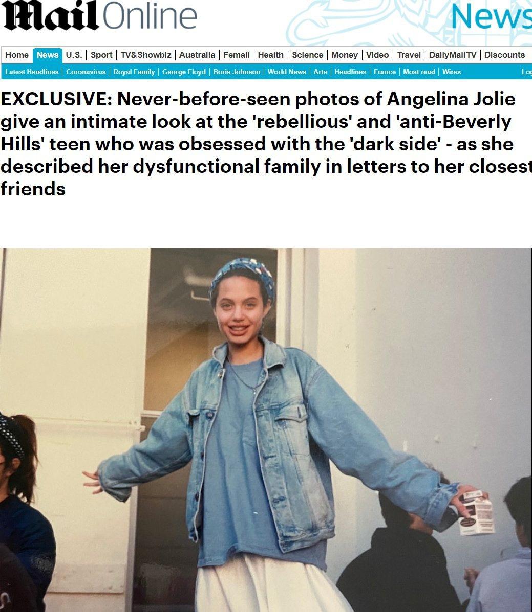安琪莉娜裘莉少女時代的模樣依稀有日後的影子。圖/摘自Daily Mail