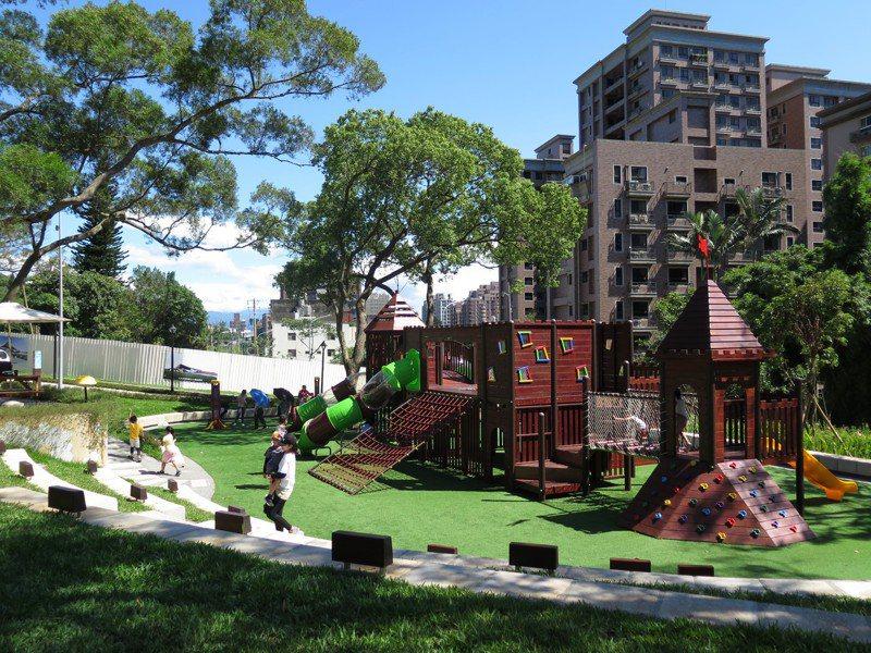 大有梯田生態公園超夯,遊戲區有不少親子同樂。記者張裕珍/攝影