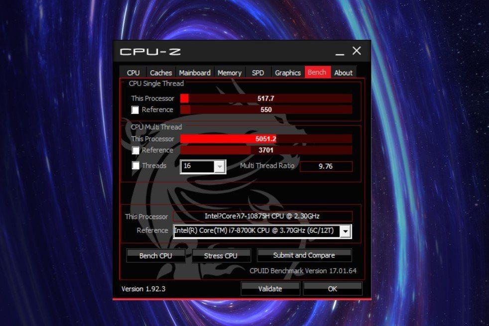 以CPU-Z進行單、多核心比較,以前年桌機、創作者桌機市場常見的Intel Co...