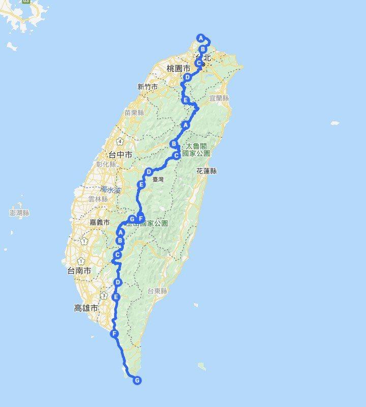 原PO表示有臉書好友以切西瓜貫通台灣南北路線的方式遊台。圖擷自mobile01