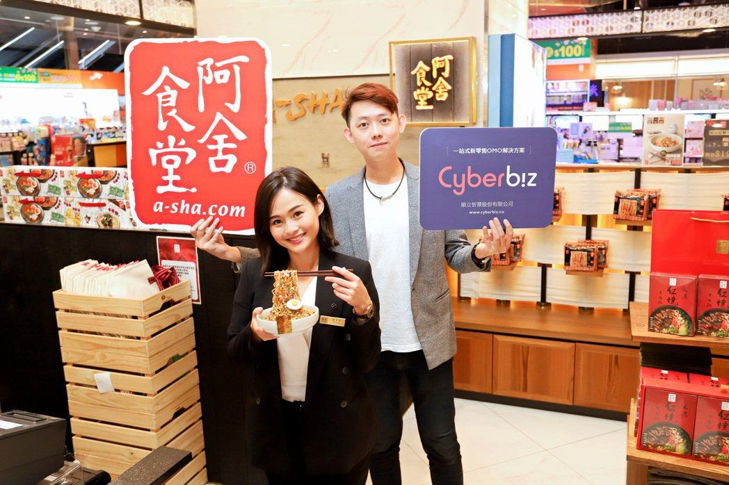 阿舍食品行銷企劃部課長張又文(左起 )、業務部業務課員林晟安對於Cyberbiz...