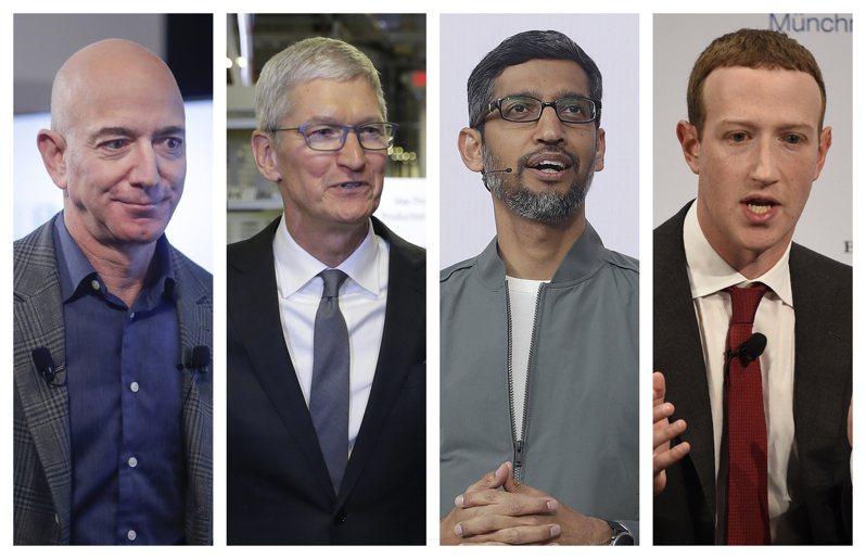 臉書執行長祖克柏(右起)、谷歌執行長皮采、蘋果執行長庫克和亞馬遜執行長貝佐斯,廿九日面對眾院司法委員會,針對「獨占」和「妨礙競爭」等議題回應。(美聯社)