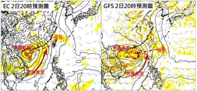最新歐洲及美國模式皆模擬,周日季風低壓環流往西調整;季風低壓槽(紅虛線),往台灣方向延伸,熱帶擾動似乎來不及在其中發展;其外圍的西南氣流則略往西調整。圖/取自「三立準氣象.老大洩天機」專欄