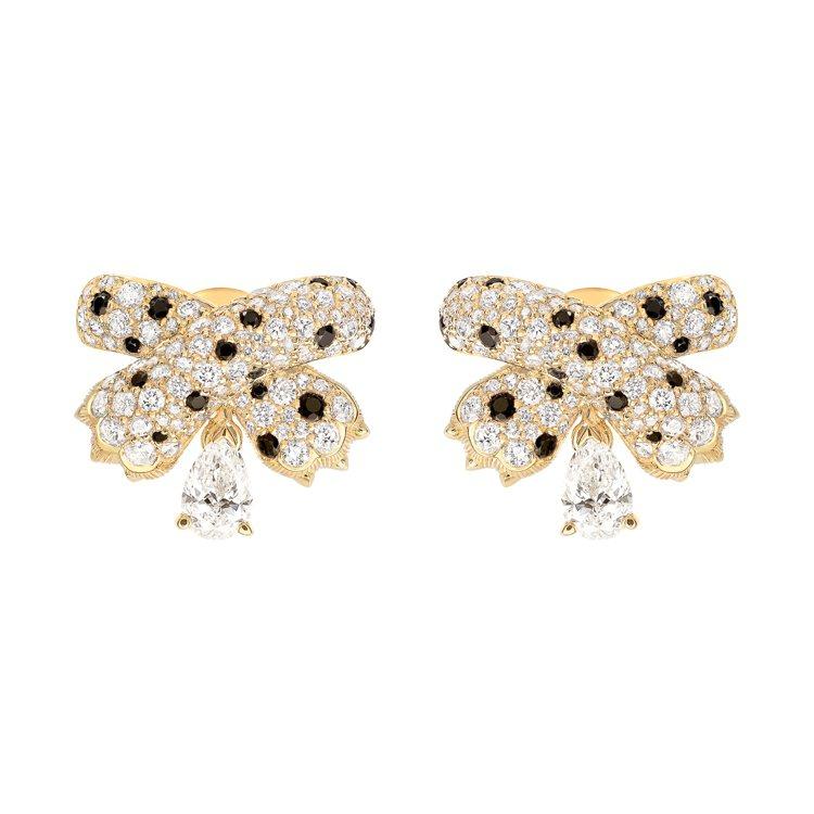 FRED OMBRE FÉLINE系列18k黃金耳環鑲嵌鑽石黑色尖晶石,87萬7...