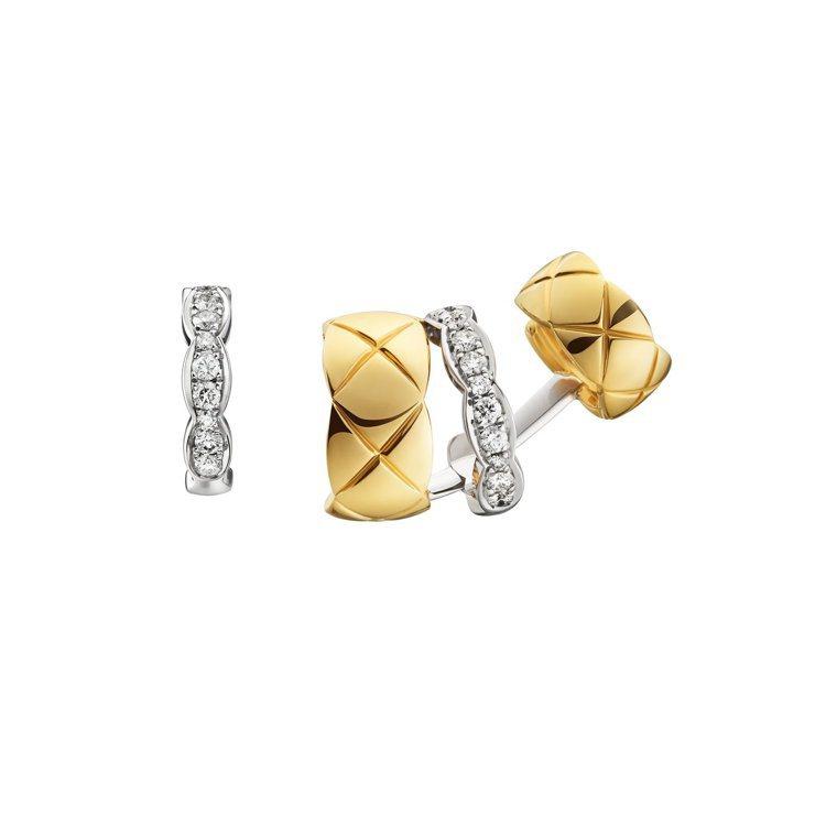 香奈兒COCO CRUSH銬式耳環,18K黃金與白金鑲嵌22顆鑽石,19萬900...