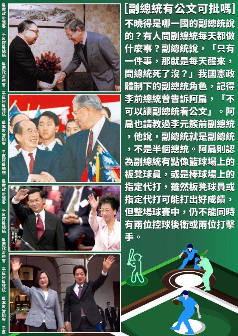 前總統陳水扁今天在臉書和line貼文說及副總統的角色。圖/翻攝陳水扁臉書