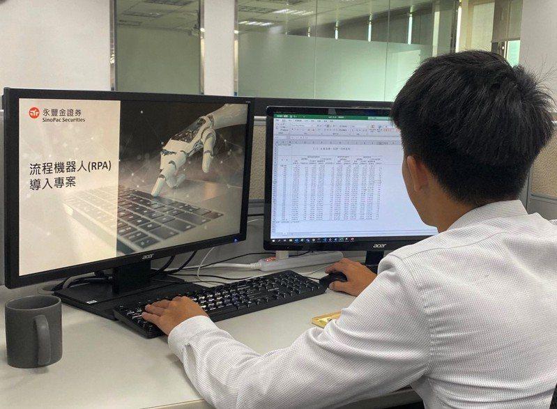 永豐金證券宣布導入流程機器人RPA打造數位工作場域。圖/永豐金證券提供