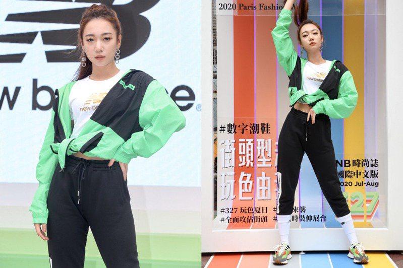 Julia吳卓源現身New Balance「327型走街頭快閃店」活動,並演繹最新款休閒鞋。記者林俊良/攝影