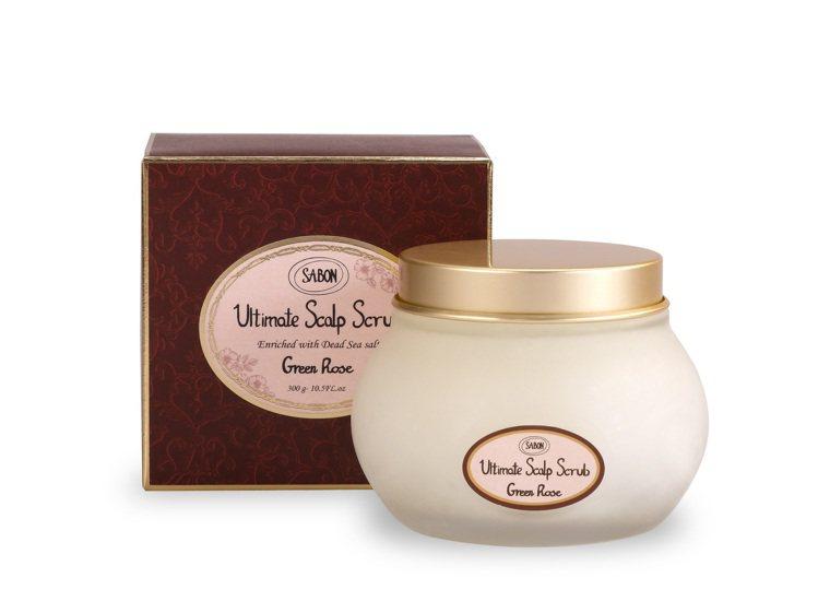 SABON以色列綠玫瑰死海鹽頭皮潔淨霜300g/1,880元。圖/SABON提供