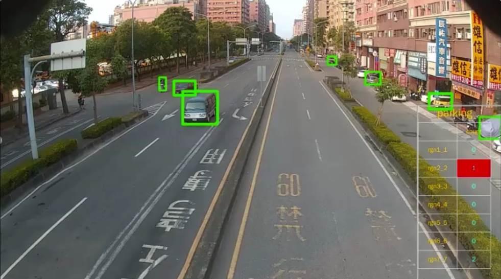 AI影像辨識技術偵測路面行人、行車情況。圖/台北市交工處提供