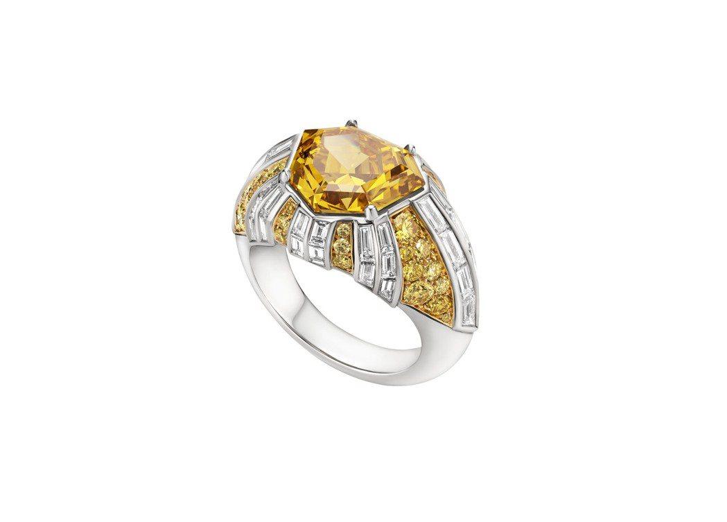 BVLGARI Barocko系列Raggio di Luce頂級黃鑽與鑽石戒指...