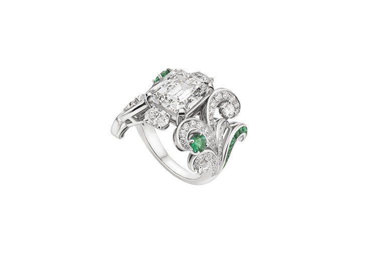 BVLGARI Barocko系列Arabesque頂級鑽石戒指鑲飾祖母綠,價格...