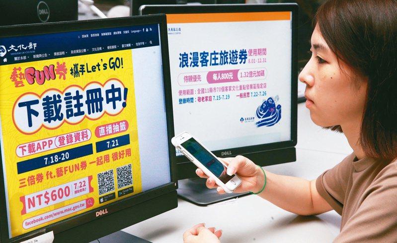 民眾上網登錄藝FUN券與客庄券。 圖/聯合報系資料照片