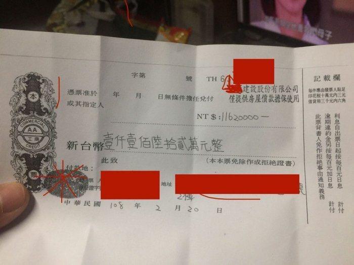原PO為了買全家的起家厝,簽了1000多萬的本票。圖擷自Dcard