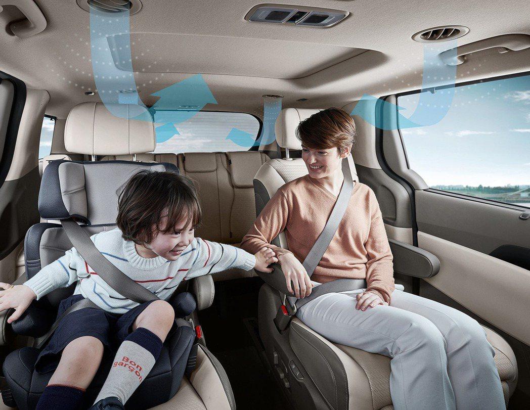 第四代Kia Carnival的後座上方配置了空調濾清器,藉此提供後排所有乘客乾...