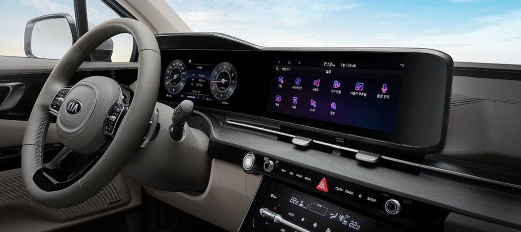 第四代Kia Carnival在高階車型中導入了雙12.3吋的數位儀表與中控螢幕...