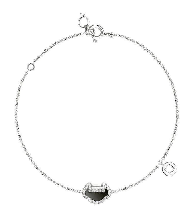Qeelin,Petite Yu Yi系列,18K白金鑲鑽縞瑪瑙手鍊,43,50...