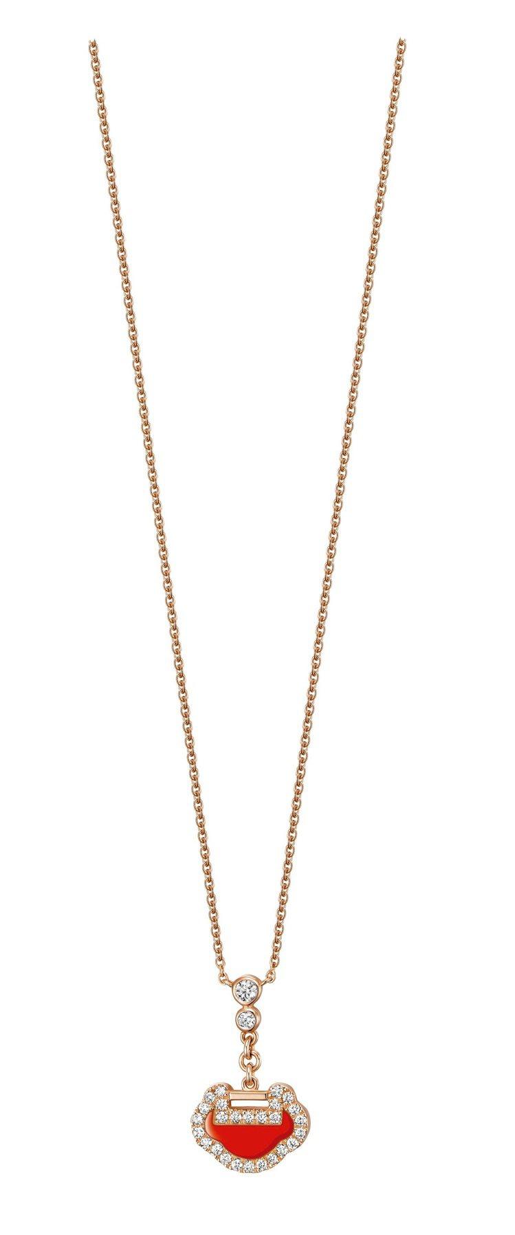 Qeelin,Petite Yu Yi系列,18K玫瑰金鑲鑽紅瑪瑙項鍊,50,0...
