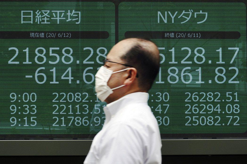 日股31日盤中大跌550點。美聯社