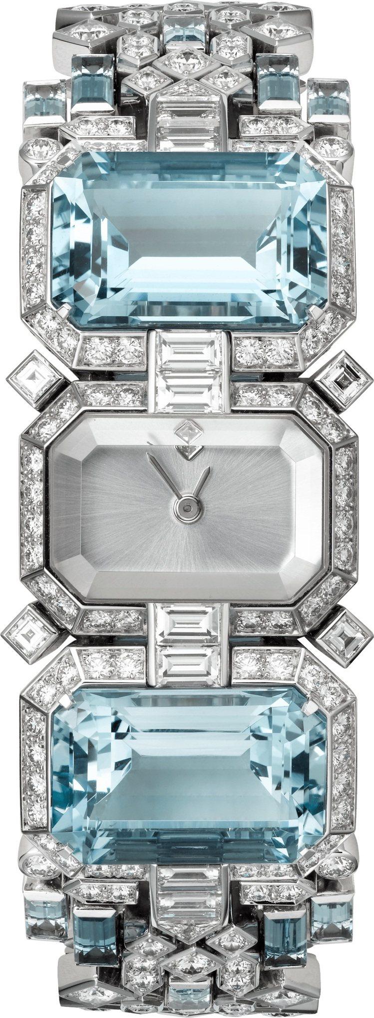 Cartier,頂級珠寶系列聖瑪利亞海水藍寶腕表,鍍銠白K金表殼和鍊帶鑲嵌2顆總...