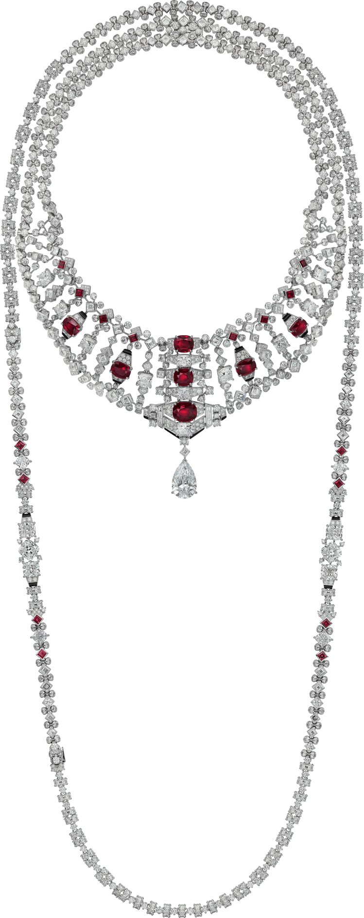 Cartier,VARANTIA紅寶石鑽石項鍊,鑲嵌七顆共重17.61克拉的天然...