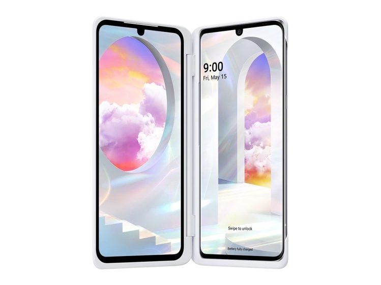 LG首次推出6.8吋白色Dual Screen,加購價4,990元,讓LG VE...