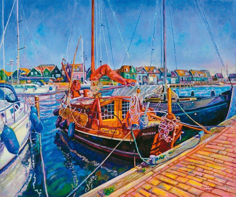 張翠滿油畫作品〈馬肯藍色與紅色的船╱荷蘭〉