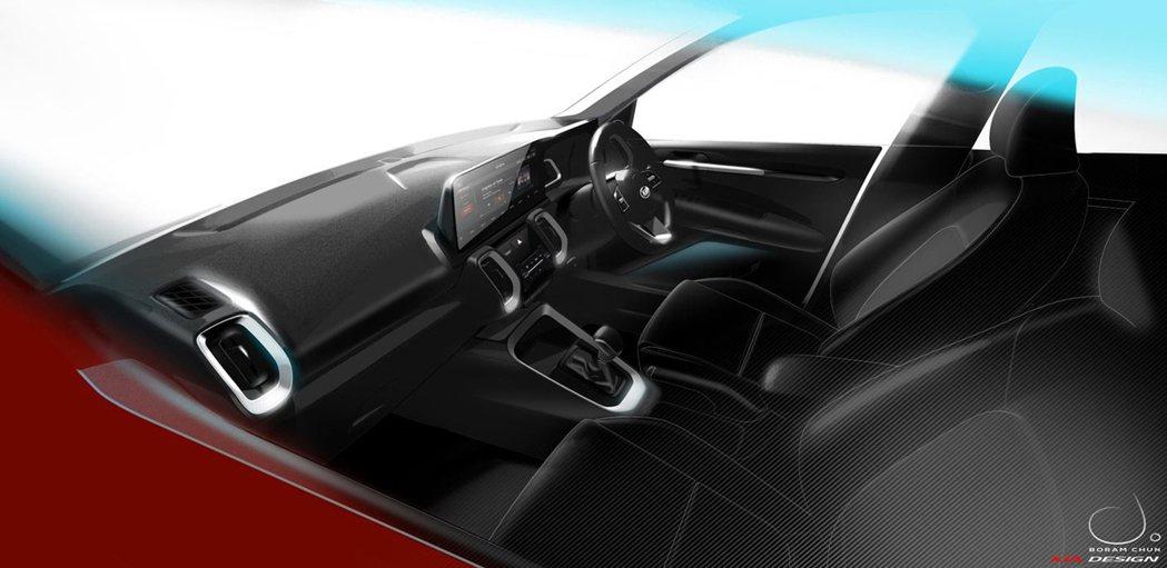 全新小休旅Kia Sonet內裝設計草圖。 摘自Kia