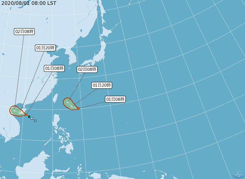 氣象局說,昨天上午8時南海有一熱帶性低氣壓,稍早生成颱風,不過因為對台灣無直接影響,不會發布海上警報。圖/截自中央氣象局