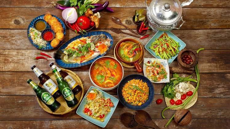 花園thia thai 四人合菜,菜色豐富。圖/台北花園大酒店提供