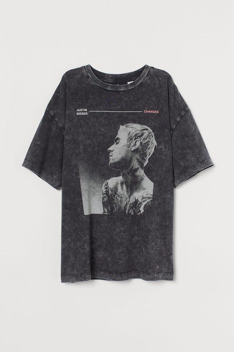 H&M小賈斯汀同名系列T恤499元。圖/H&M提供