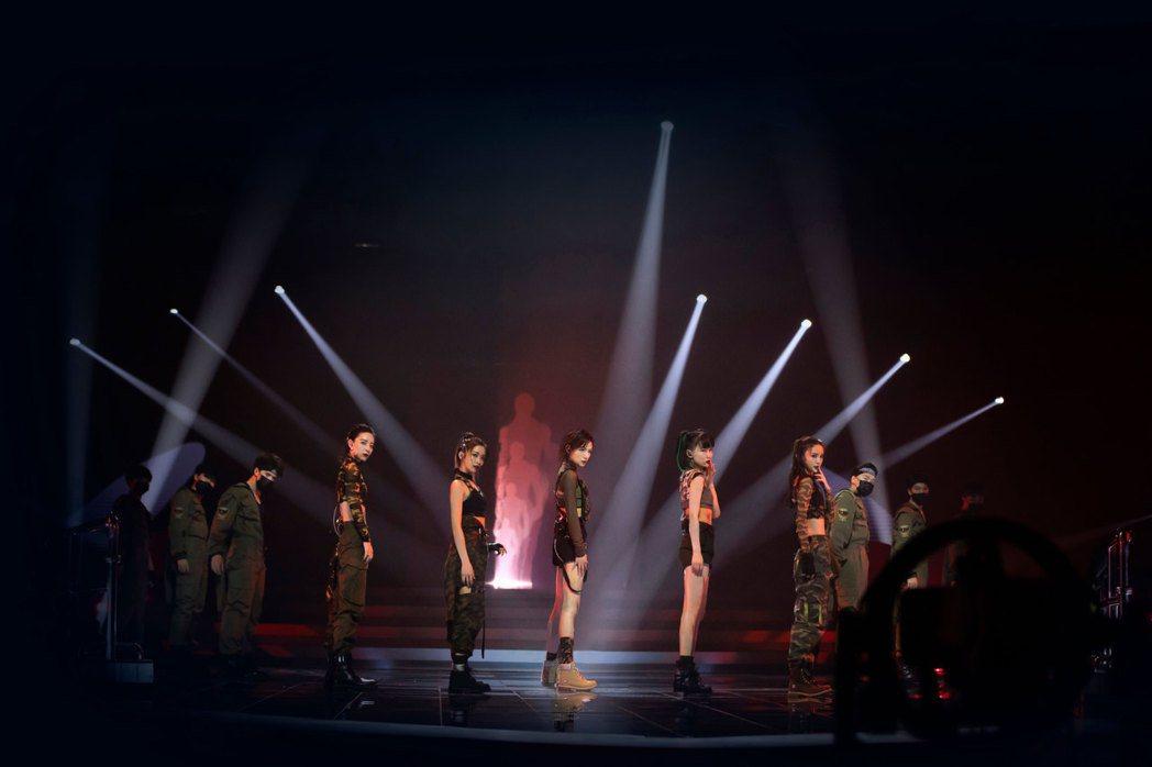 袁詠琳在「乘風破浪的姐姐」第四次公演挑戰高難度動作,上鐵架旋轉、躺地下腰樣樣來。...