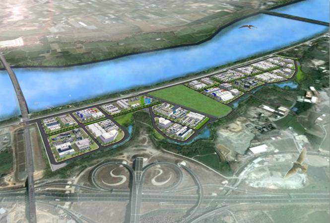 台中市政府推動「豐洲科技工業園區二期開發計畫」,園為二期模擬圖。圖/台中市經發局提供