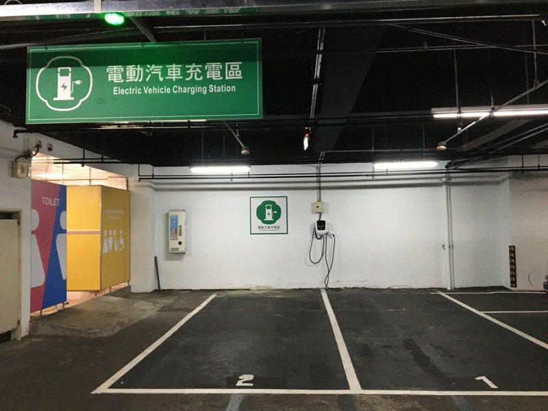 桃園市府前地下停車場廁所旁設置電動汽車充電區,歡迎使用,電費由停車場經營業者吸收。記者張裕珍/攝影