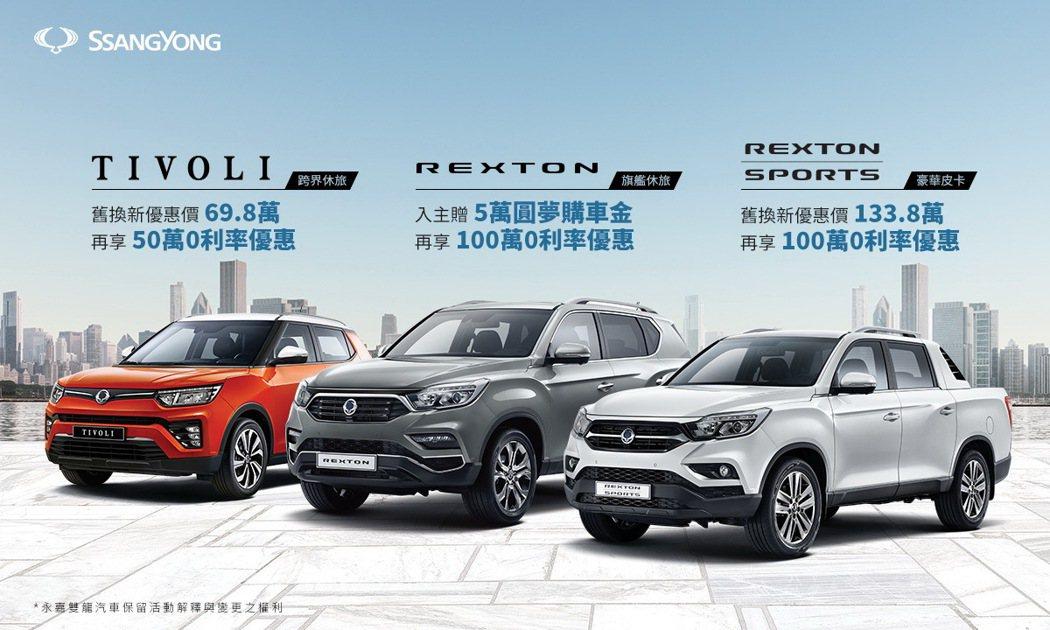 SsangYong提供多項購車優惠,最高享100萬0利率再送5萬圓夢購車金。 圖...