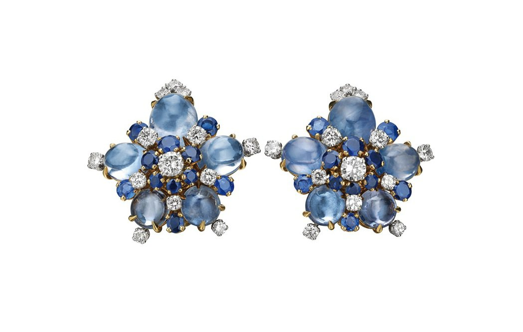 BVLGARI Heritage骨董系列藍寶石與鑽石耳環。圖/寶格麗提供