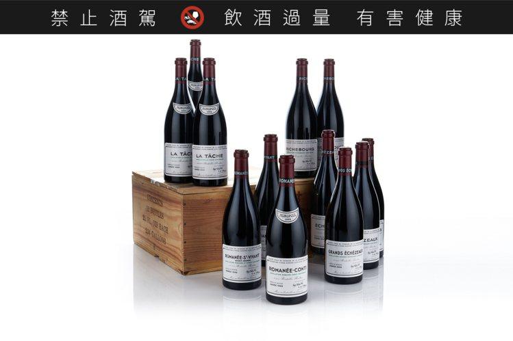 羅曼尼康帝酒莊套裝1999年,12瓶,估價45萬港元起。圖/邦瀚斯提供