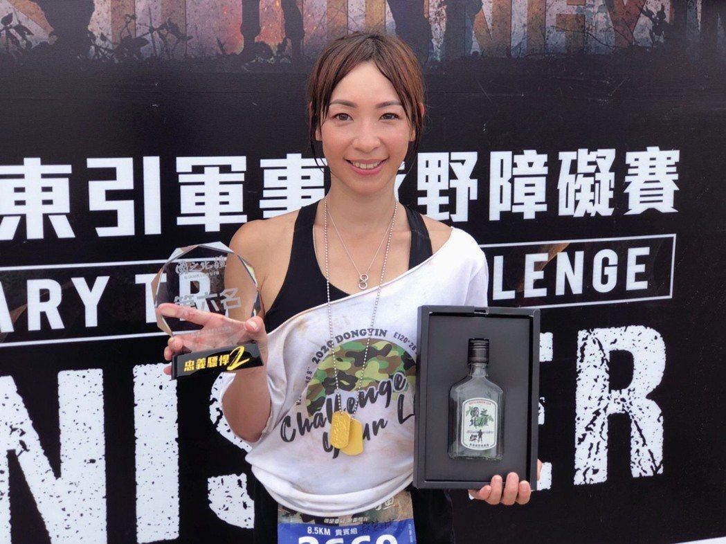 段慧琳參加東引軍事障礙賽拿下第6名。圖/民視提供(  ※ 提醒您:禁止酒駕 飲酒