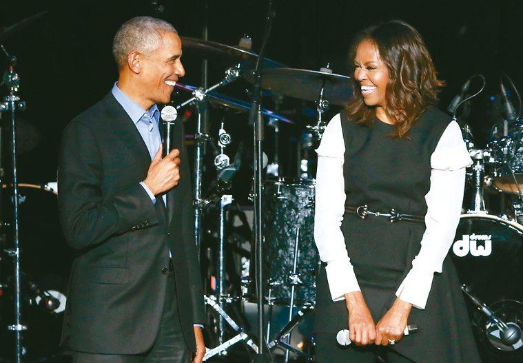 美國前總統歐巴馬夫婦。 美聯社