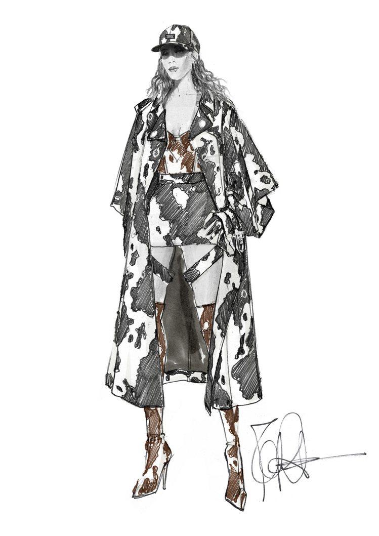 BURBERRY創意總監Riccardo Tisci為碧昂絲操刀設計的訂製服。圖...