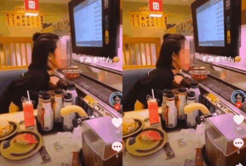 一名在日本留學的越南女生於自己的社交網站平台上載一張於迴轉壽司店舔輸送帶上的壽司的動圖,遭網民怒批缺德。圖/翻攝自Zing News