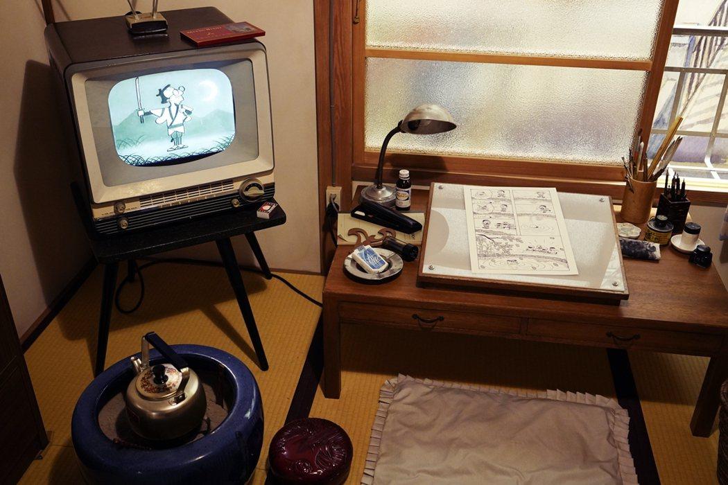年輕的漫畫家們把古典音樂與電影當作創作的養分。圖為常盤莊漫畫博物館場景。 圖/歐...