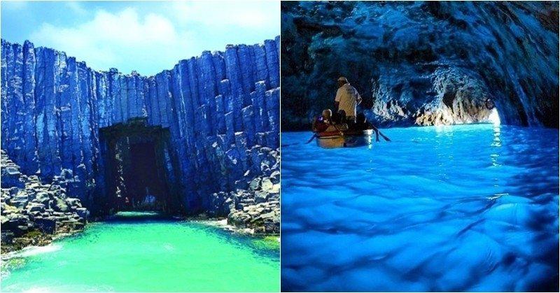 左:澎湖藍洞(圖片來源/澎湖縣政府旅遊處)右:義大利藍洞(圖片來源/IG coast_tours)