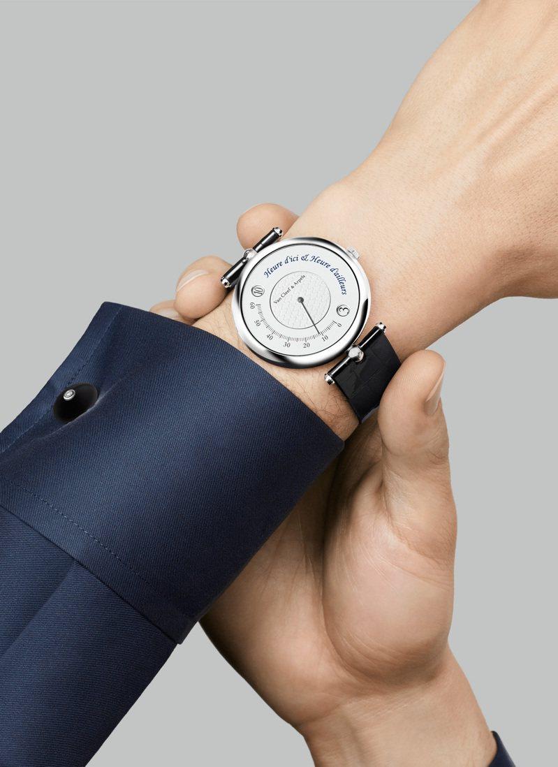 梵克雅寶Pierre Arpels Heure d'Ici & Heure d'Ailleurs白K金鑲鑽腕表,77萬元。圖/梵克雅寶提供