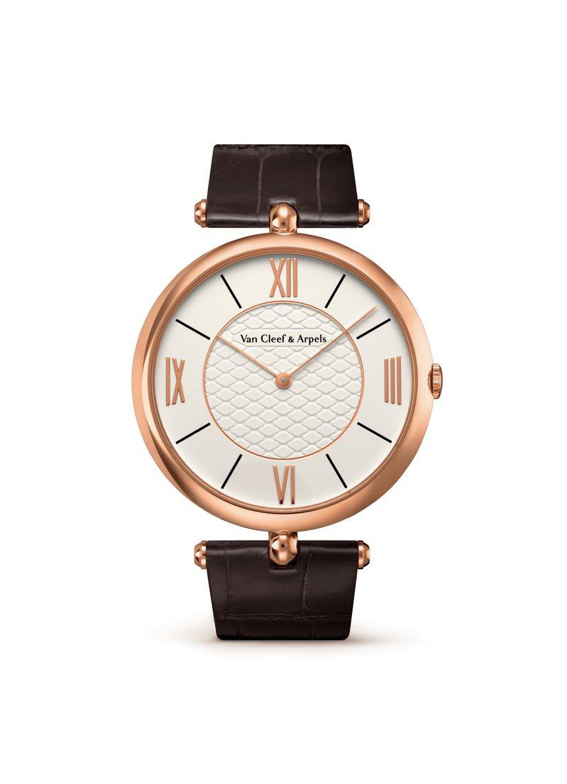Pierre Arpels 42毫米玫瑰金鑲鑽腕表,50萬5,000元。圖/梵克雅寶提供