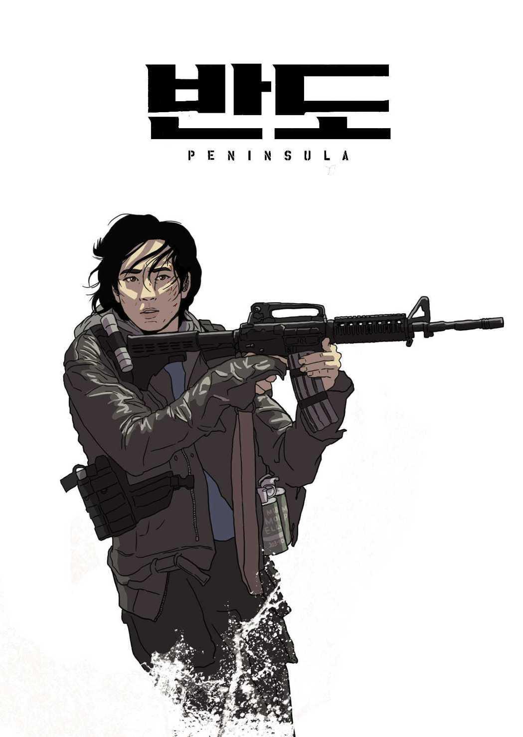 「屍速列車2:感染半島」導演繪製的色版海報。圖/車庫娛樂提供